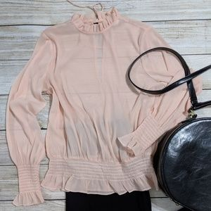 Blush sheer smocked blouse